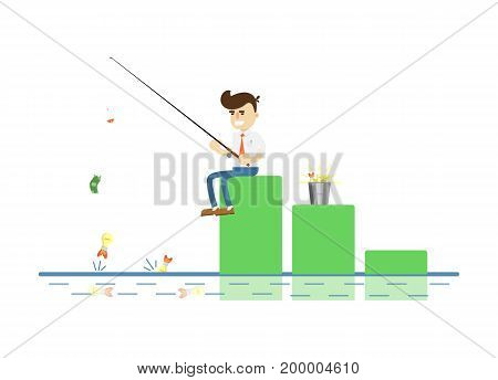 Businessman with fishing rod icon. Idea generation and business realization vector illustration in flat design.