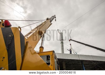 a Mobile crane working at construction site