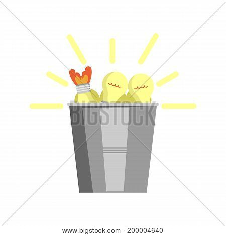 Bucket full of light bulbs icon. Idea generation and business realization vector illustration in flat design.