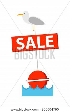 Sale sign with bird icon. Shopping in supermarket, retail vector illustration in flat design.