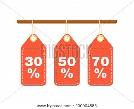 Discount tags for best sale proposition. Shopping in supermarket, retail vector illustration in flat design.