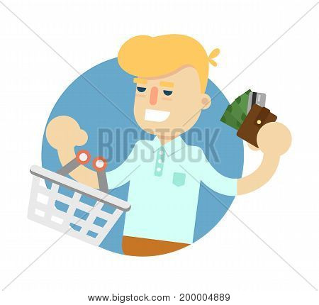 Smiling man with shopping basket icon. Shopping in supermarket, retail vector illustration in flat design.