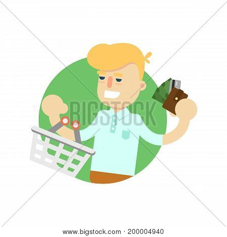 Man with shopping basket and money icon. Shopping in supermarket, retail vector illustration in flat design.