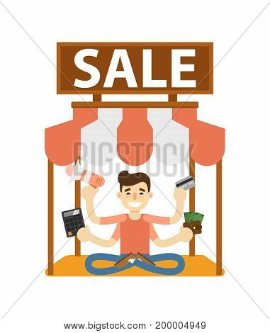 Seller man on marketplace icon. Shopping in supermarket, retail vector illustration in flat design.