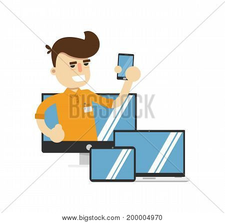Smiling seller man with electronic gadgets icon. Shopping in supermarket, retail vector illustration in flat design.