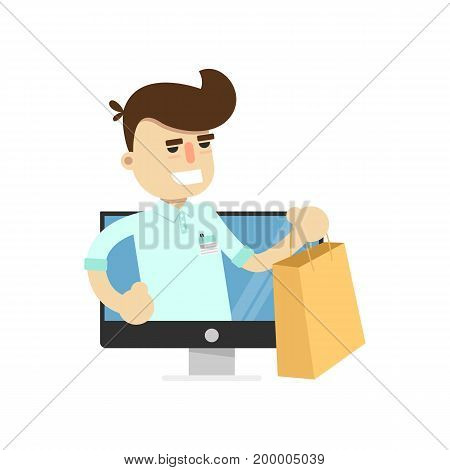 Smiling seller man in tv monitor icon. Shopping in supermarket, retail vector illustration in flat design.