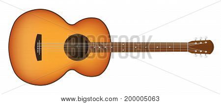 real acoustic guitar on a white background