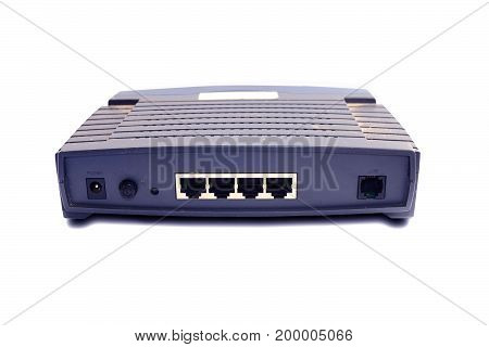 The Blue 4 Port Old Router On White Background
