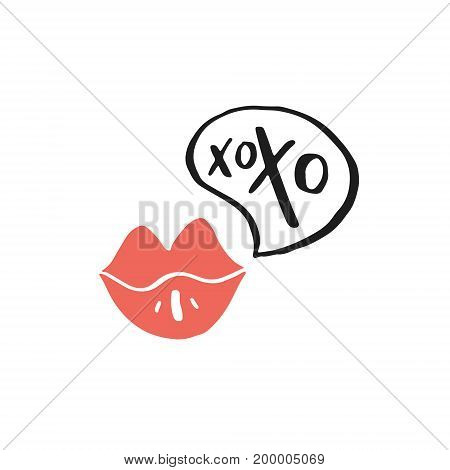 Illustration of lips and xoxo sign. Vector romantic design.