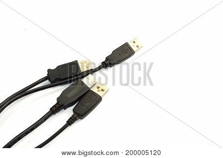 Data Adapter Cable For Computer On White Background