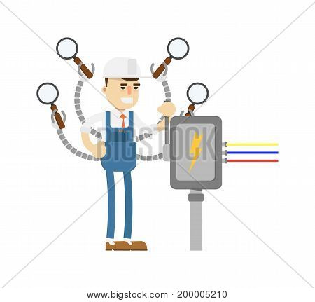 Young mechanic in uniform with magnifiers icon. Diagnostic and repair vector illustration in flat design.