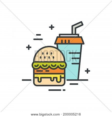 Linear illustration of fastfood. Vector line style icon.