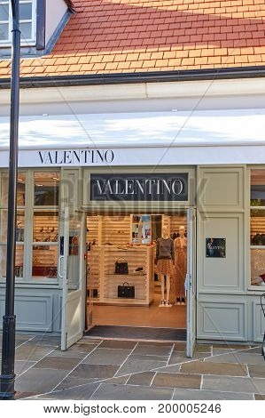 PARIS FRANCE - MAY 10 2017 : Valentino boutique in La Vallee Village. Valentino is an Italian fashion designer and founder of the Valentino SpA brand