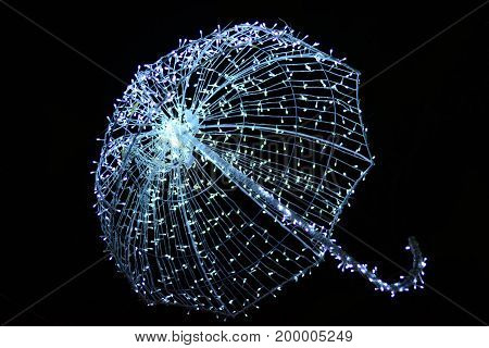 A White Light Lamp  In Celebretion Night,umbrella Light