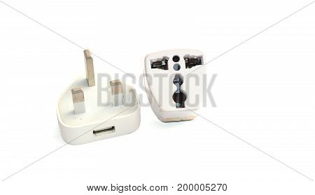 Old  White Mobile Charger Adapter On White Background