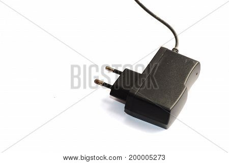 Electrical Plug For Mobile On White Background