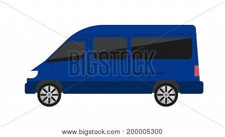 Modern minivan isolated vector illustration on white background. Comfortable minibus, family van, auto vehicle, people city transport in flat design
