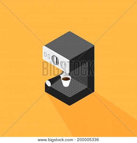 Coffee machine making a cup of coffee isometric flat design vector illustration