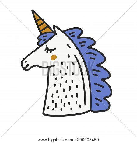 Cute illustration of unicorn head. Magic creature.