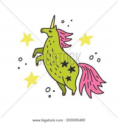 Cute handdrawn unicorn vector illustration. Magic creature.