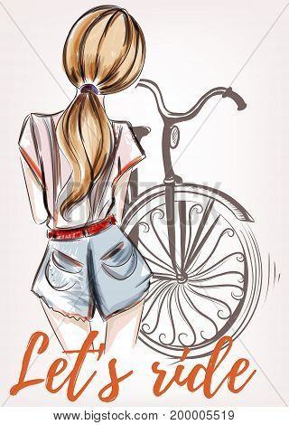 Fashion illustration with beautiful girl standing back and bicycle. Let's ride