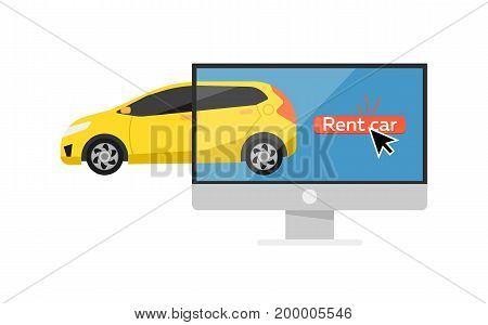 Online pre ordering car concept with computer monitor isolated on white background vector illustration. City renting car service in flat design.