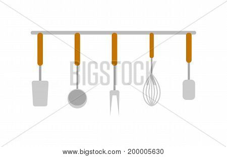 Set of dishes icon. Fork, ladle, corolla and spoon. Cooking and kitchen vector illustration in flat design.