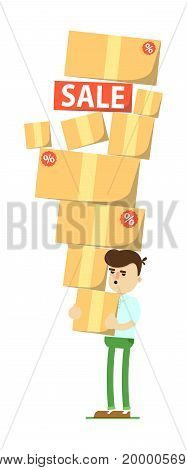 Smiling man with pile of boxes icon. Shopping in supermarket, retail vector illustration in flat design.