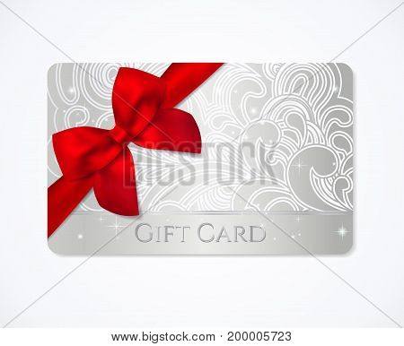 Gift card, Silver Gift coupon, (discount) with floral (scroll, swirl) silver swirl pattern (tracery), red bow (ribbon). Holiday background design for invitation, ticket. Vector