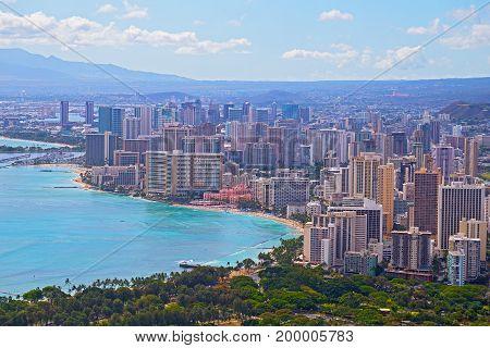 Honolulu downtown skyline in Hawaii USA. A view on the city from Diamond Head.