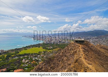 Honolulu cityscape in Hawaii USA. A view on the city from the mountain top.