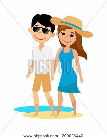 Young guy and girl walking on the beach. The husband and wife on vacation. Vector illustration.