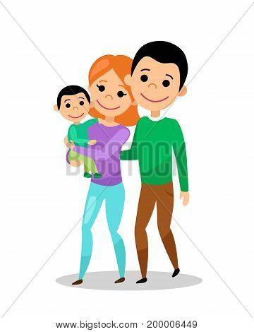 Happy family going for a walk. Mom, dad and baby. Woman with son in her arms. Vector illustration.