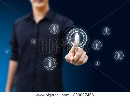 man hand pressing social network icon, networking concept