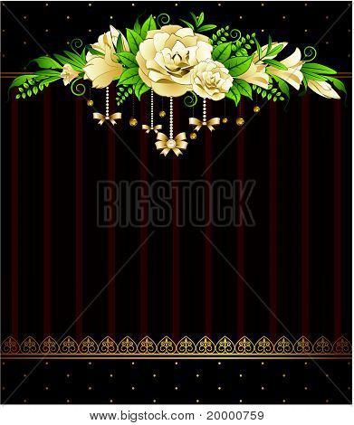 Flowers with lacy jewelry against with a place for the text