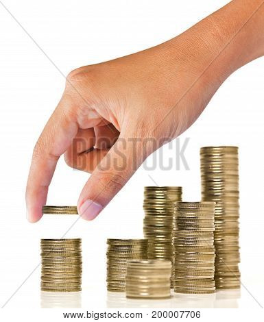 coins stacks and hand on white background