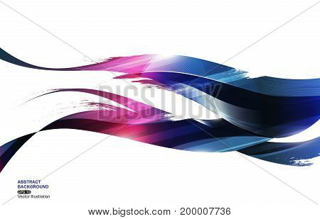 Deep Blue Ink Stripe Wave Abstract Background, concept fire, vector illustration