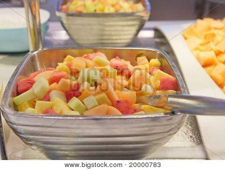 Fresh Cut Fruit In A Silver Bowl