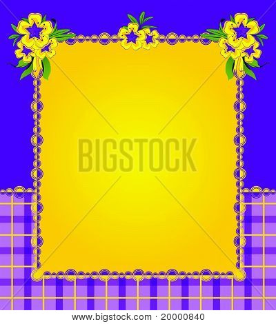 Flowers on the background of a decorative frame for text