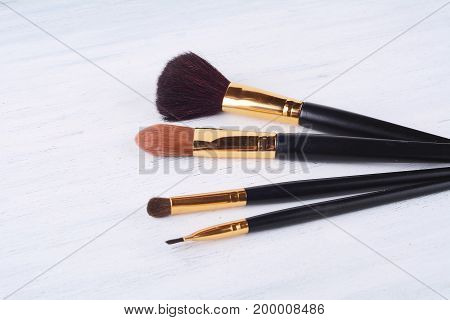 Close Up Of A Set Of Make Up Brushes.