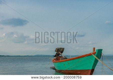 The blue sky and fisherman parked by the sea.