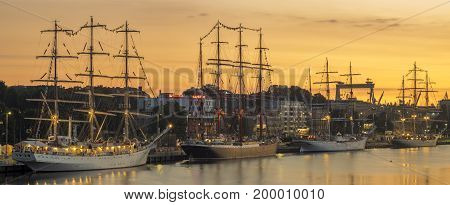 sailing ships at the wharf in Szczecin Tall Ships Races 201