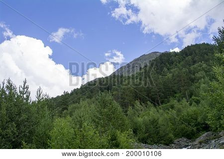 Mountain with green trees blue sky white clouds in the foothills of Elbrus North Caucasus Russia