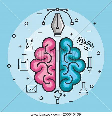 brain think idea power design concept vector illustration