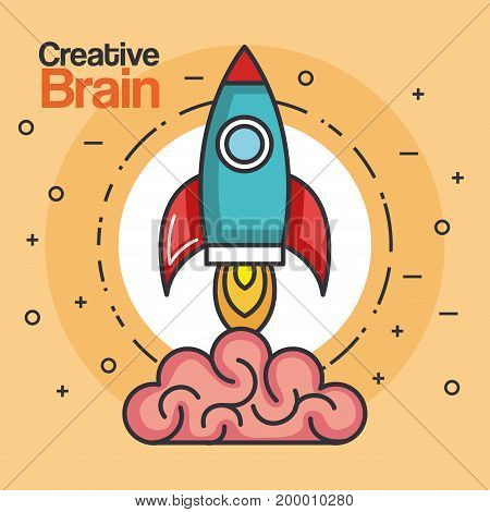 rocket launch creative brain idea innovation vector illustration