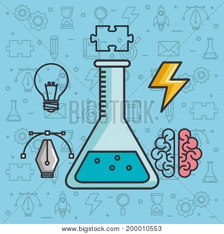 creative solution science brain knowledge vector illustration