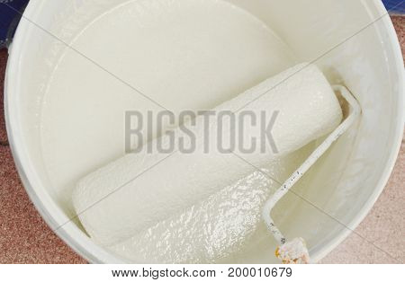 paint roller in white color bucket prepare to used