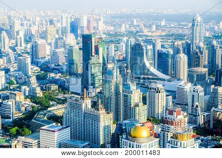 Panorama megapolis Bangkok city view from above city of angels Thailand