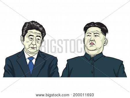 Kim Jong-un with Shinzo Abe. Cartoon Caricature Vector Illustration. August 17, 2017