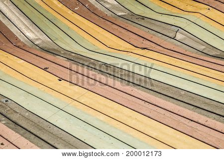 Colorful old damaged metal sheet roof texture abstract background
